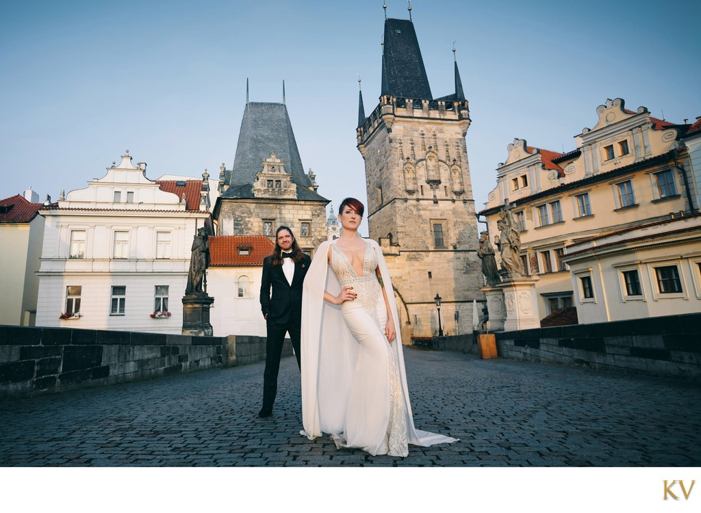 Sexy bride & groom posing like a rock star in Prague