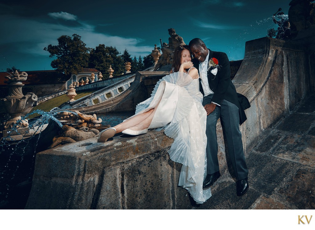 happy newlyweds enjoying moment Cesky Krumlov Castle