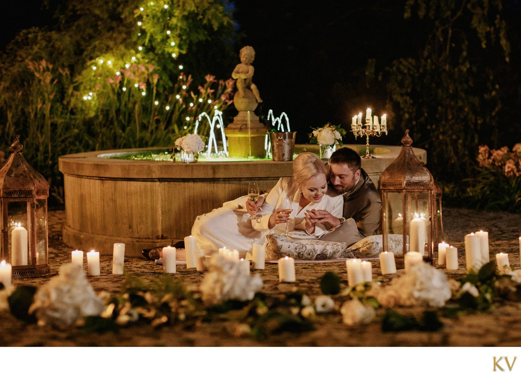 Chateau Mcely luxury wedding: A&M at the fountain