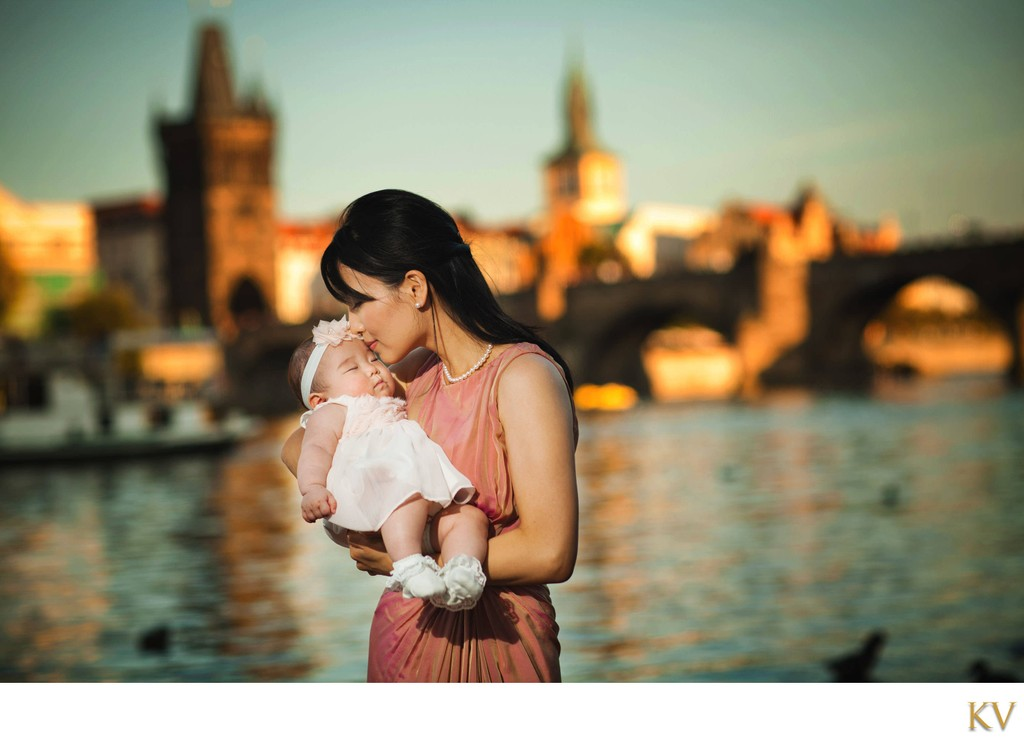 Portrait of a mother and her infant daughter in Prague