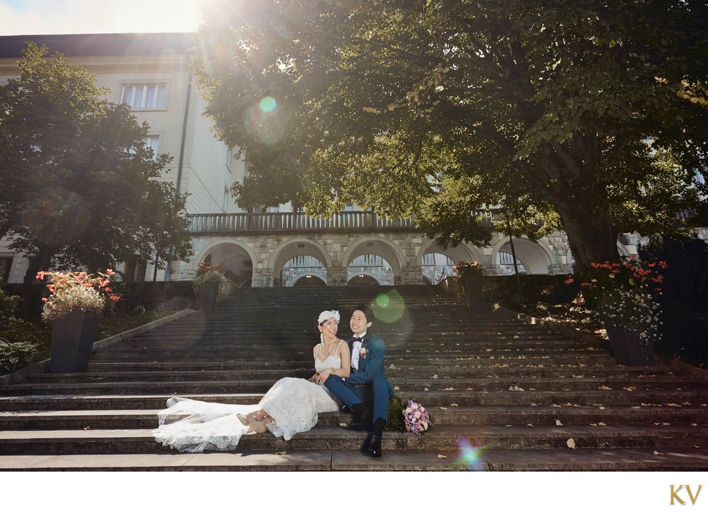 Portrait of Bride & Groom in the sunshine at Vila Bled
