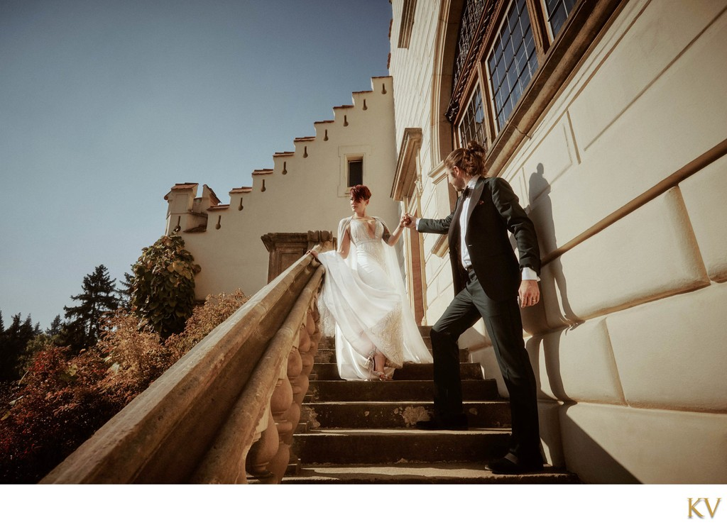 The Berta bride & her husband Castle Pruhonice