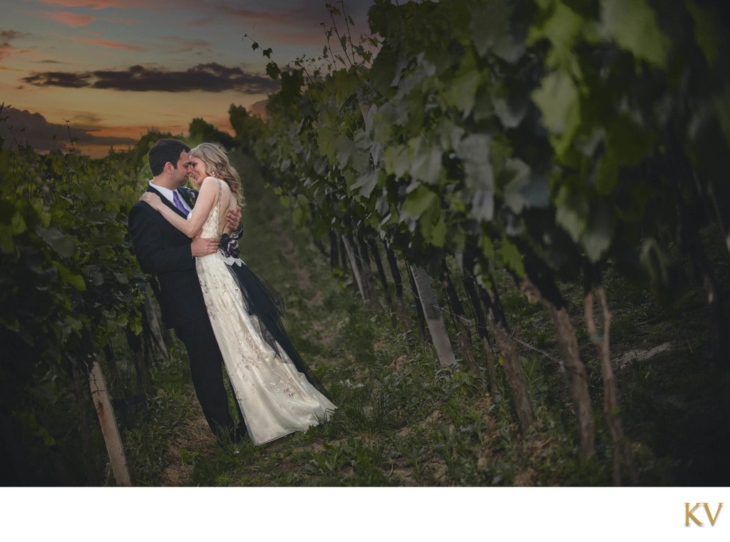 NYC bride & groom embrace in ancestral vineyards