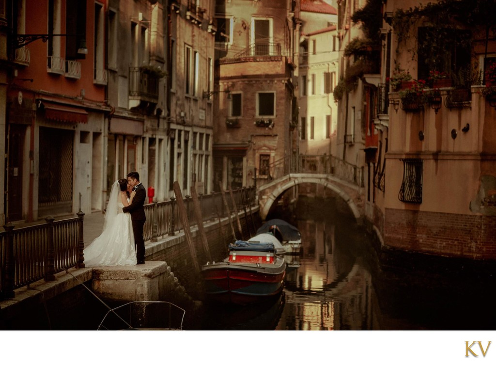 Lovers enjoying a quiet moment Venice pre-weddings