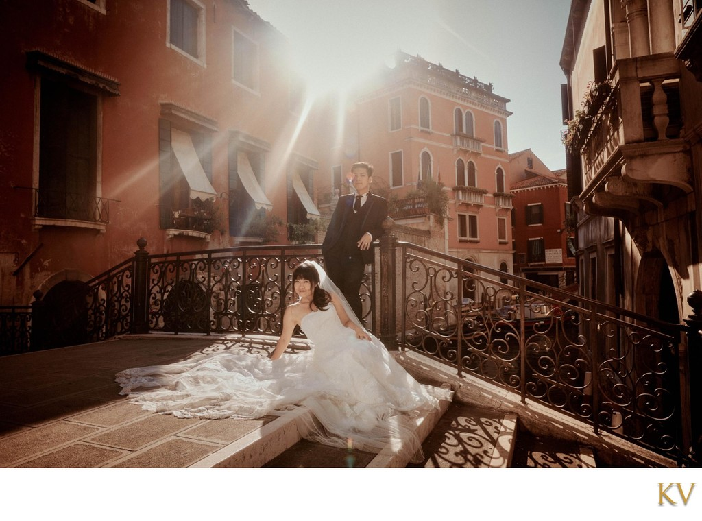 Sun flared bride & groom portraits Venice Italy