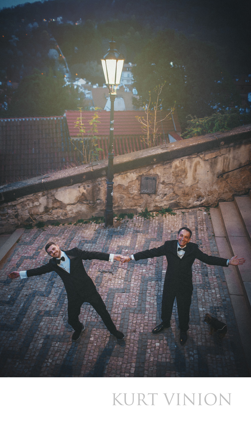 that 'campy' portrait of 2 Men in Tuxedos in Prague