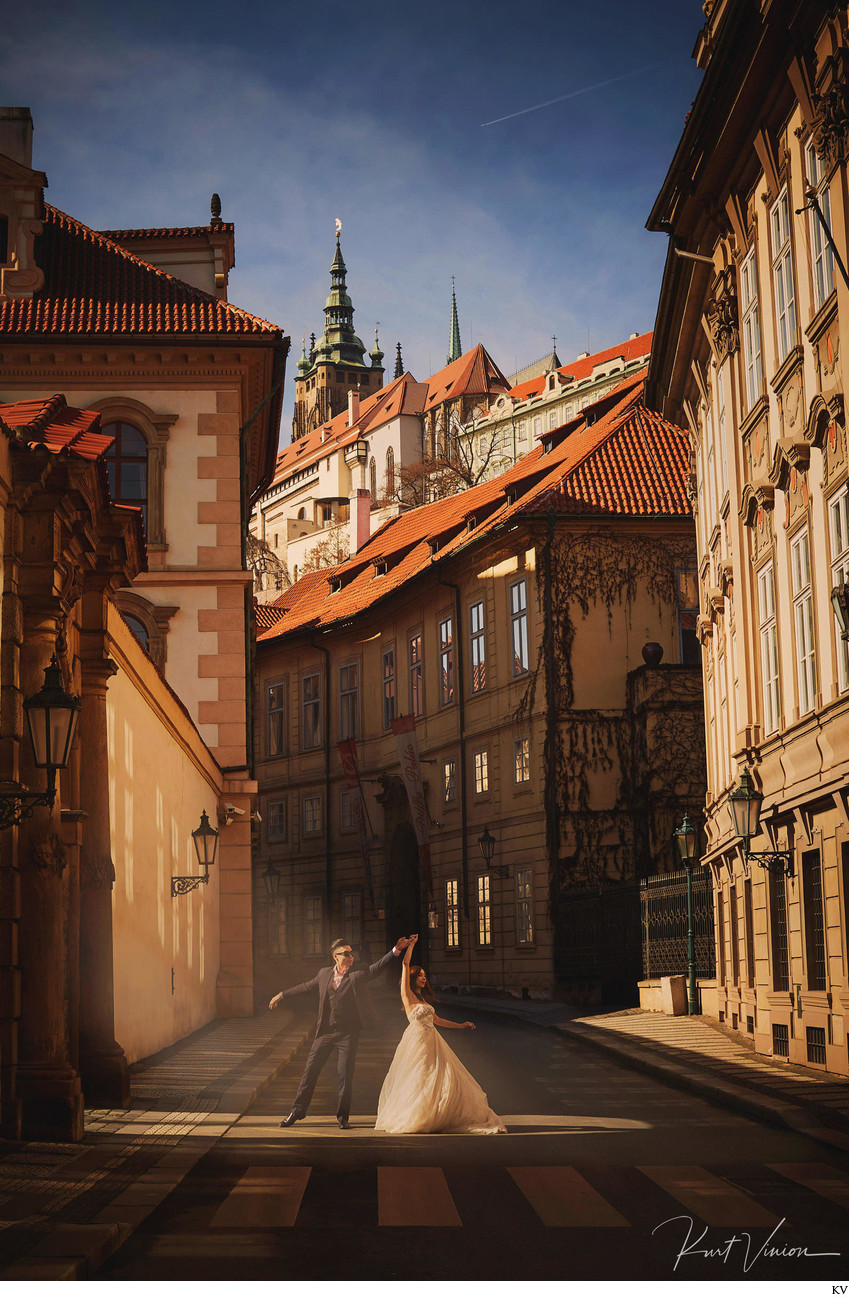 Dancing in the morning sunlight Mala Strana Prague