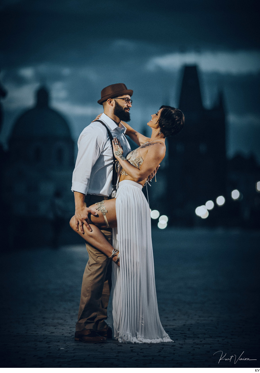 A cinematic themed wedding anniversary shoot in Prague