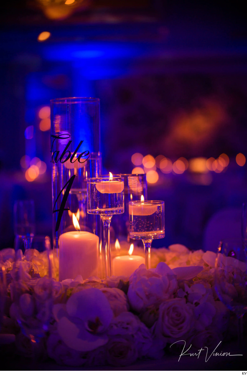 Candle and table details Four Seasons Hotel weddings