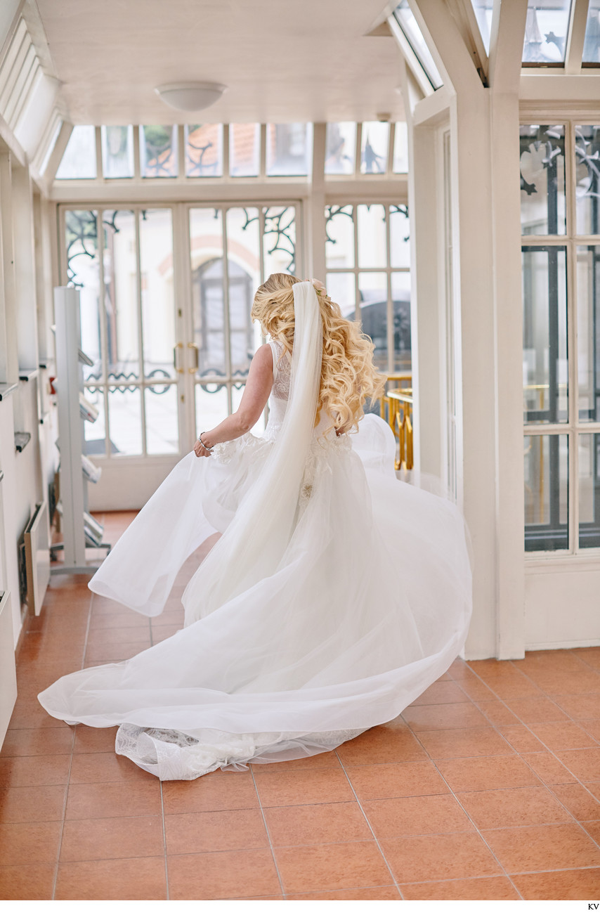 Hluboka nad Vltavou Castle bride twirling wedding dress
