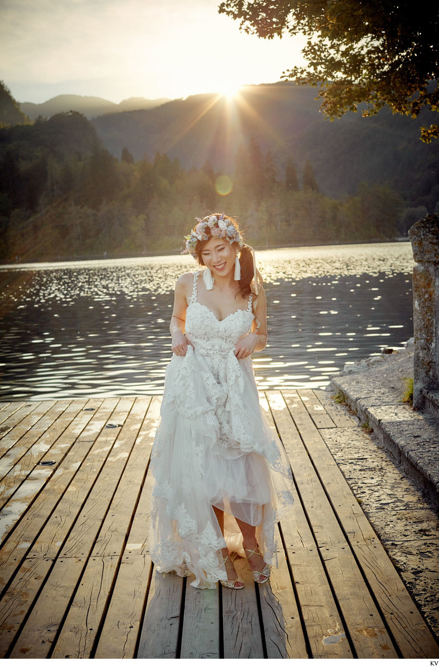 Radiant bride in the Golden Light Lake Bled Slovenia