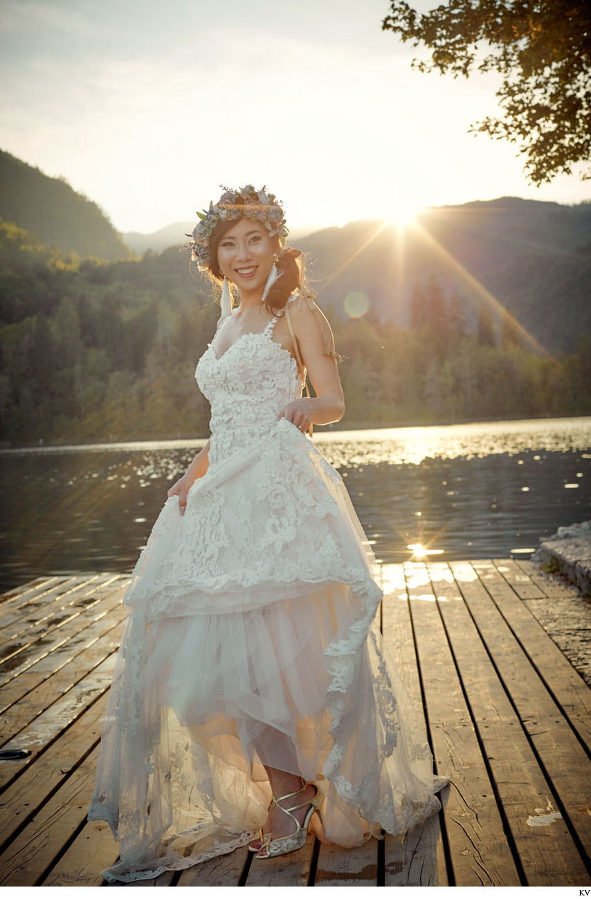 happy bride in the summer sunshine Lake Bled Wedding