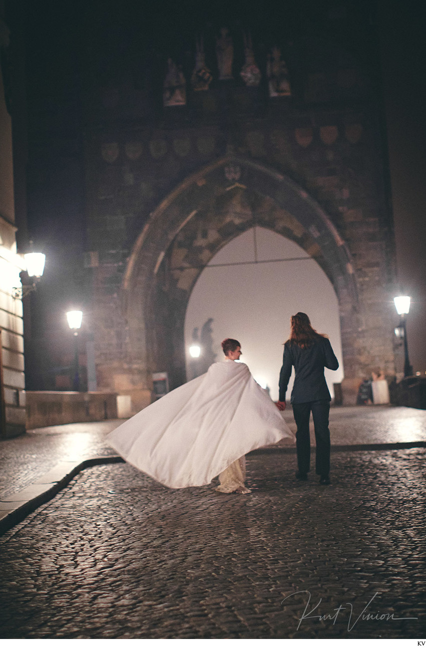 Berta wedding dress & cape Charles Bridge Prague