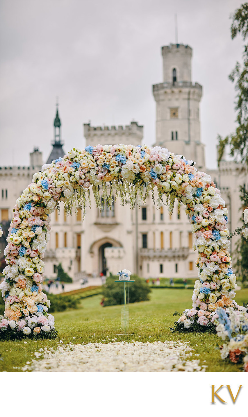 Castle Hluboka luxury outdoor wedding day photo