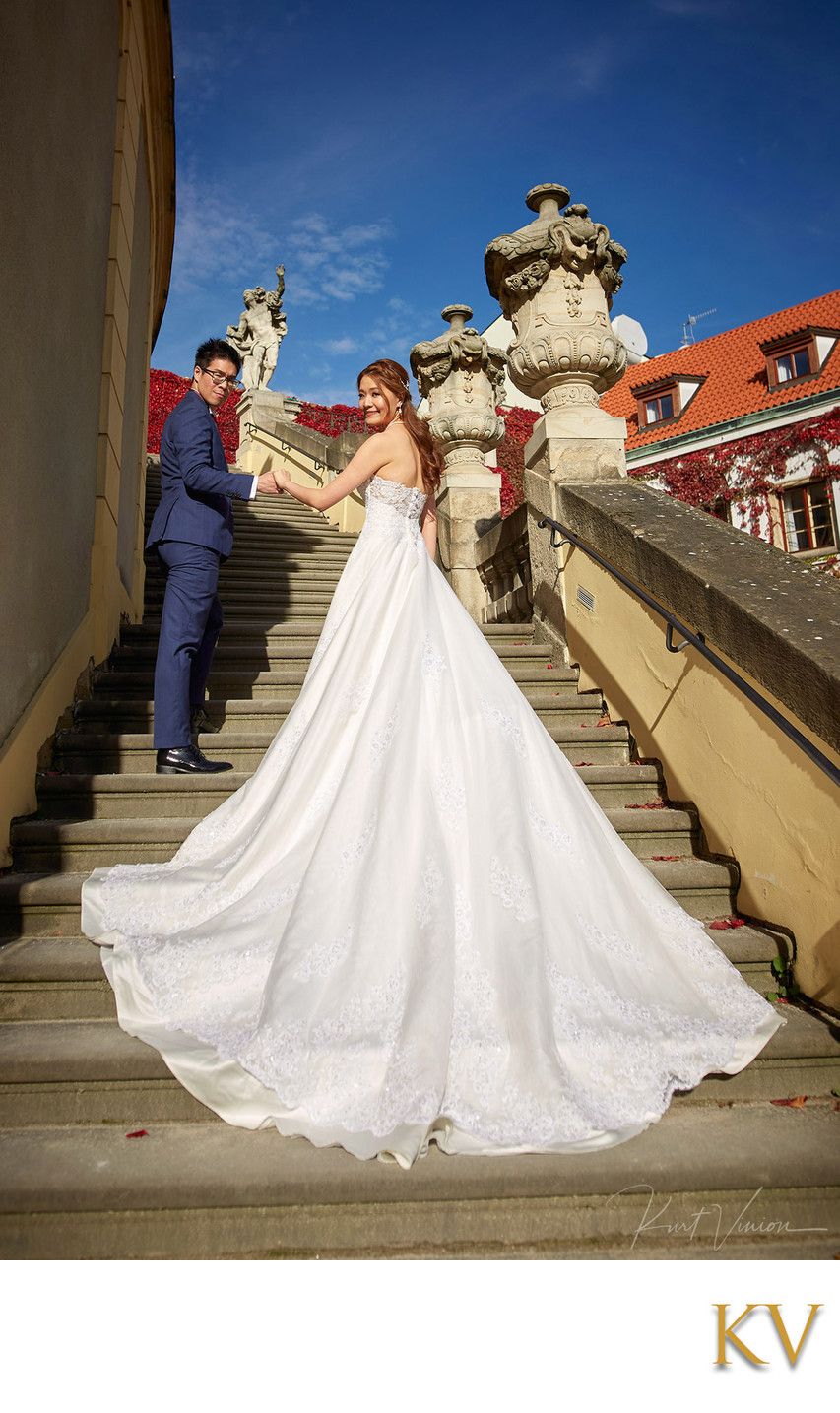 Bride2b and her groom pictured Vrtba Garden in Prague