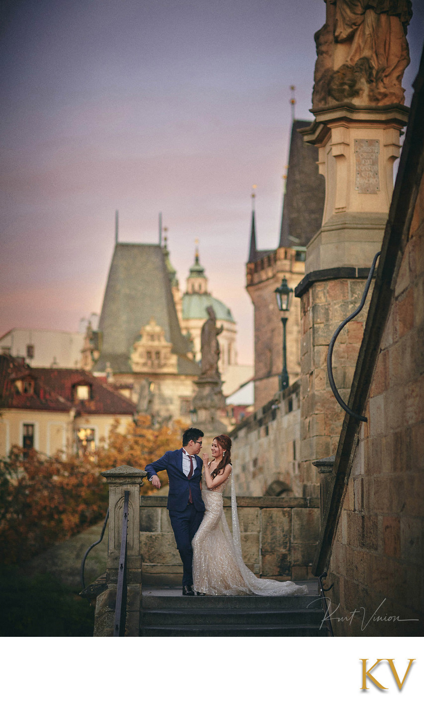 sexy engaged couple Kampa Steps Prague pre wedding