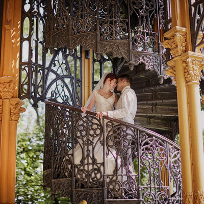 Castle Hluboka wedded couple at the staircase