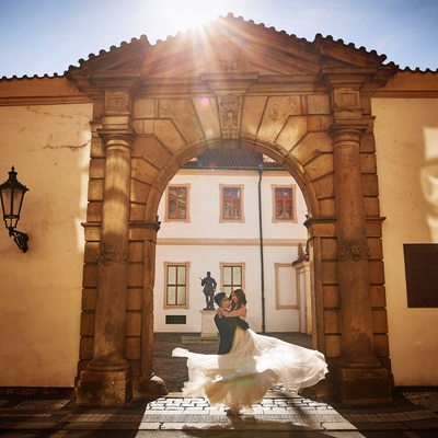 Prague Wallenstein Palace Sun flare spinning bride2b