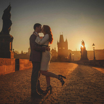 Prague sunrise anniversary photo session Charles Bridge
