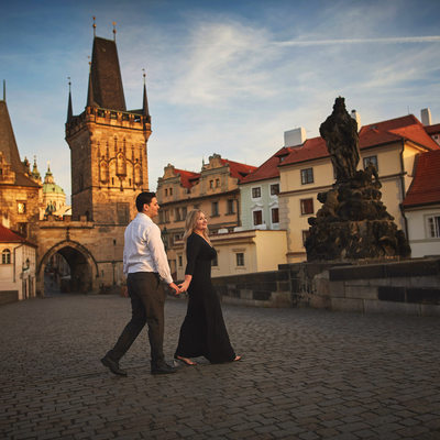 A deserted Charles Bridge with our sunrise couple