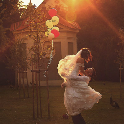 radiating joy magic garden Prague wedding photographer
