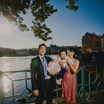 classical style family portrait on location Prague