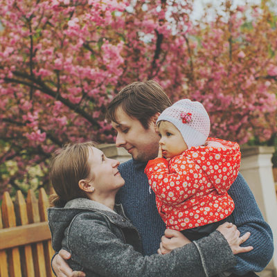 Family portrait under the Cherry Blossom Trees