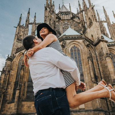 lovers at St. Vitus Prague Castle lifestyle portrait