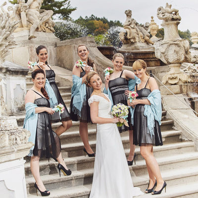 bride and her cheeky bridesmaids Cesky Krumlov wedding