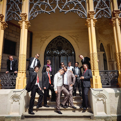 Martin & the lads wedding picture Castle Hluboka