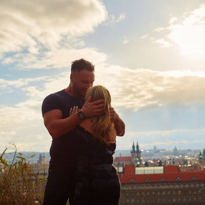 A big hug and kiss for the newly engaged in Prague