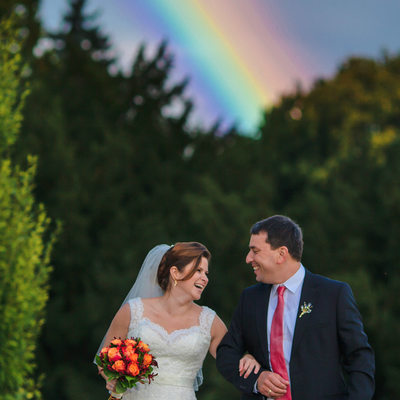 newlyweds rainbow Castle Zbiroh destination wedding