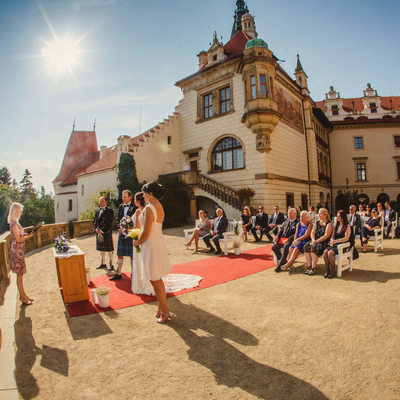 summer destination wedding at Pruhonice Castle photo