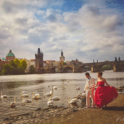 Bride2b fiancee enjoying riverside with swans in Prague