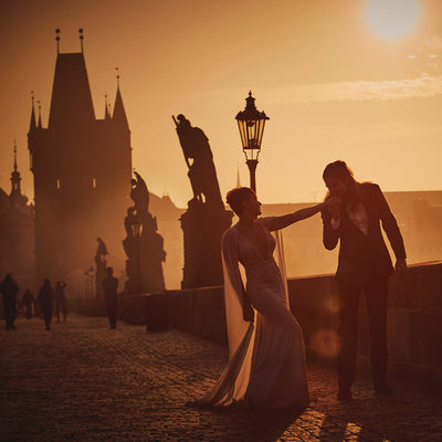 Post wedding portrait photographer Prague Sunrise kiss