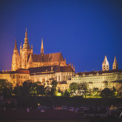 Prague Castle at night viewed from The Four Seasons