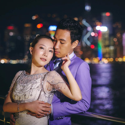 Elegant couple Hong Kong skyline engagement portrait