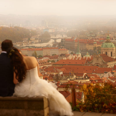 enjoying view above Prague pre wedding photo