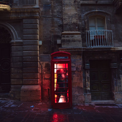 Engagement Portrait Red Phone Box Valleta Malta
