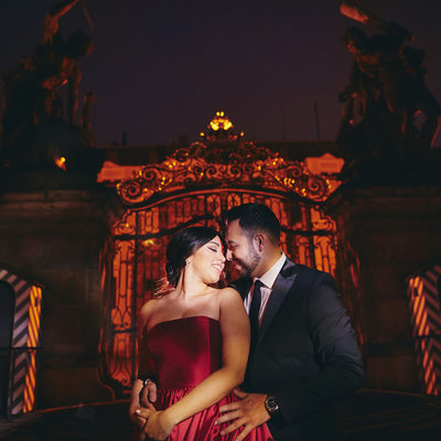Hot & Sexy LA Couple Prague Castle Engagement portrait