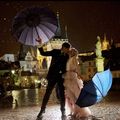WPJA Diamond Award Prague couple in Rain Charles Bridge