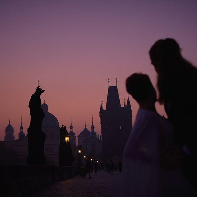 Dawn on the Charles Bridge Anniversary portrait session