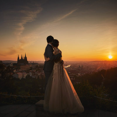 watching sunrise over Prague Chinese couple engagement