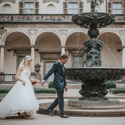 gorgeous wedding couple Belvedere Palace Prague