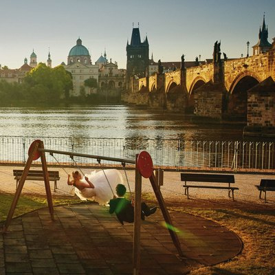swinging in the sunshine Charles Bridge