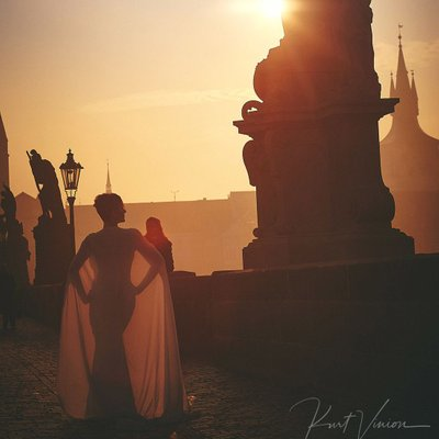 Berta dress & cape Charles Bridge Golden Light