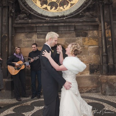 dancing under the Astronomical Clock Prague wedding