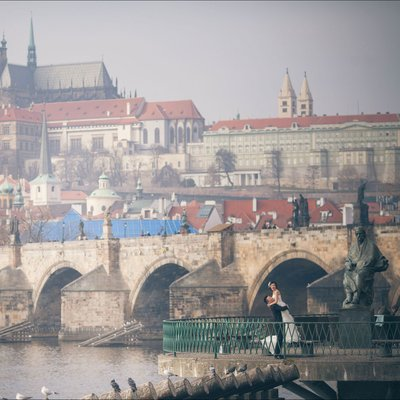 couple celebrating their Czechia wedding in Prague
