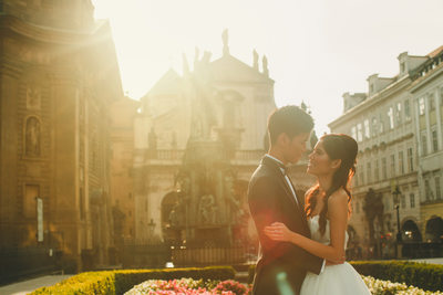 Golden Hour intimate moment for H+P Prague pre-wedding