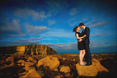 beautiful color portrait Galway Ireland couple embrace